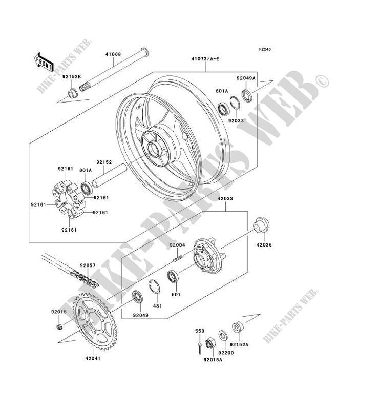 ROUE ARRIERE CHAINE ZX1200 B1 NINJA ZX 12R 2002 1200 MOTOS
