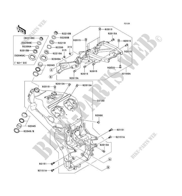 CHASSIS ZX1200 B2H NINJA ZX 12R 2003 1200 MOTOS Kawasaki