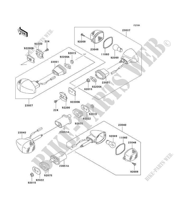 CLIGNOTANTS ZX1200 B2H NINJA ZX 12R 2003 1200 MOTOS