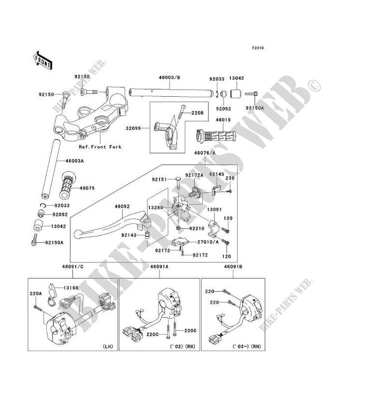 GUIDON ZX1200 B2H NINJA ZX 12R 2003 1200 MOTOS Kawasaki