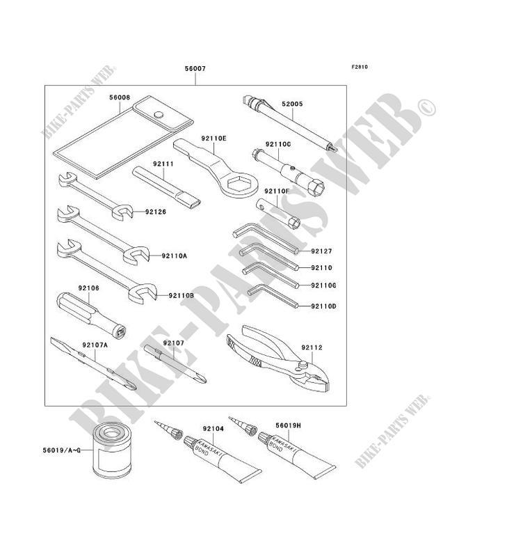 OUTIL UTILISATEUR ZX1200 B2H NINJA ZX 12R 2003 1200 MOTOS