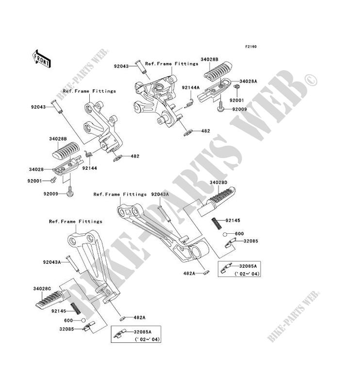 REPOSE PIED ZX1200 B2H NINJA ZX 12R 2003 1200 MOTOS