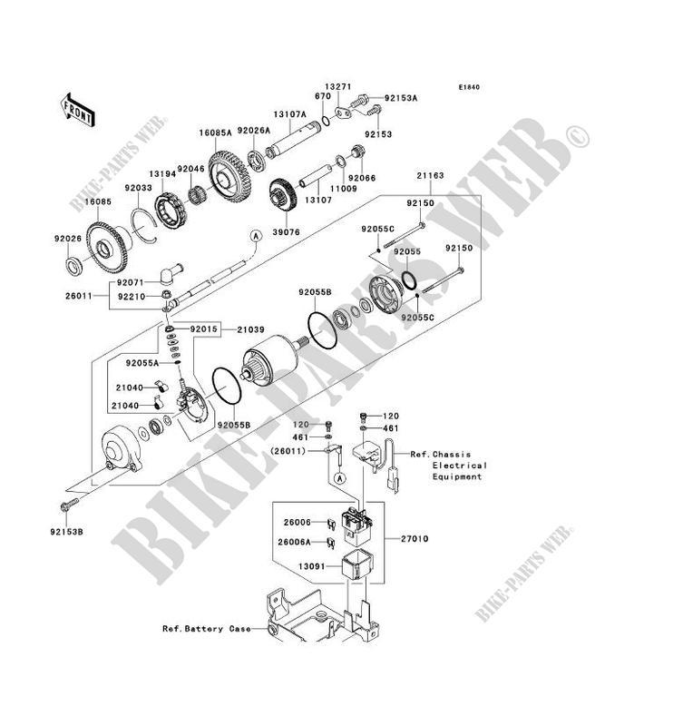 DEMARREUR ZX1400FCF ZZR1400 ABS 2012 1400 MOTOS Kawasaki
