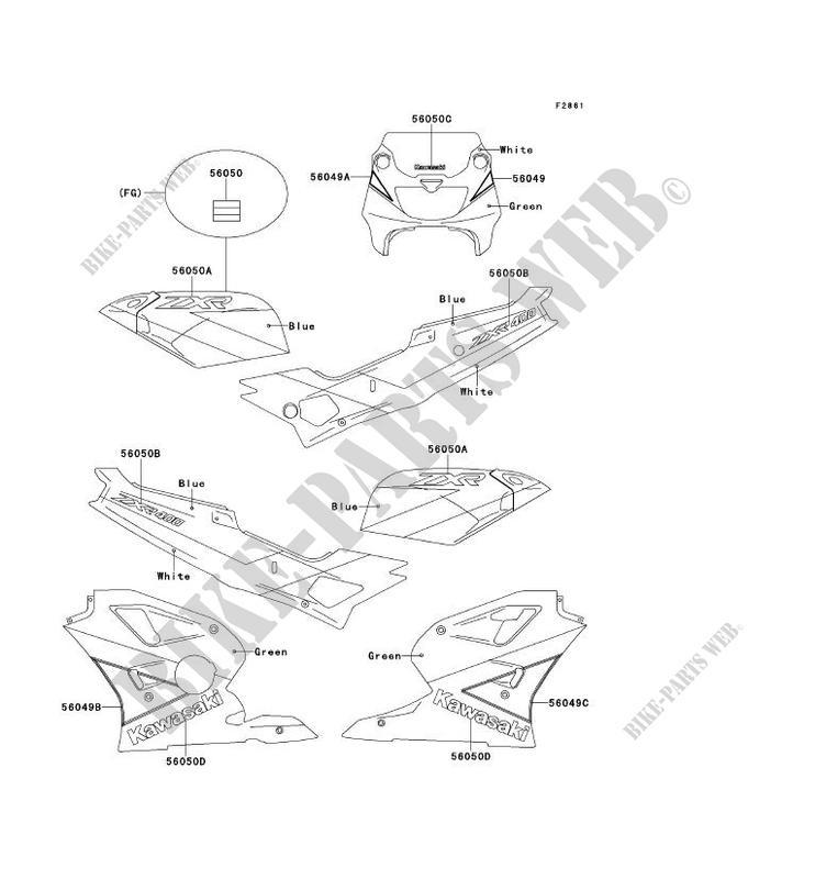 STICKER VERT BLANC BLEU ZX400 L1 ZXR400 1991 400 MOTOS