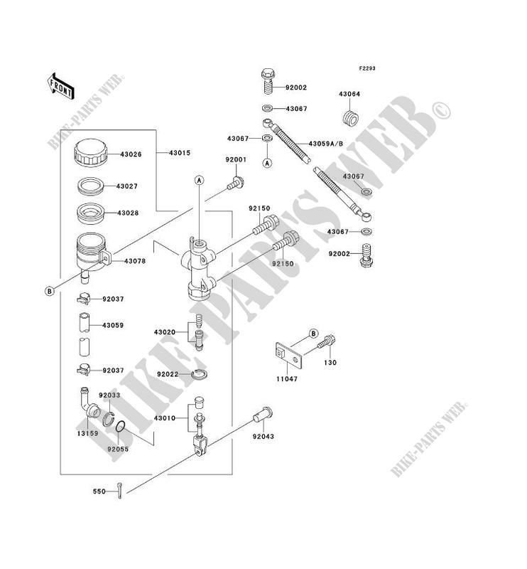 MAITRE CYLINDRE ARRIERE ZX600 E3 ZZR600 1995 600 MOTOS