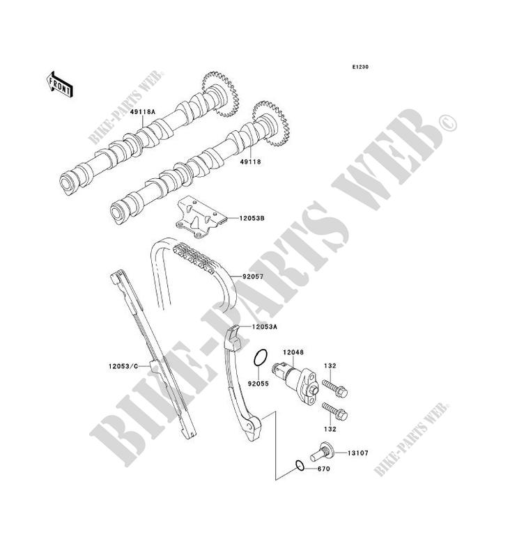 ARBRE A CAME/TENDEUR pour Kawasaki NINJA ZX-6R 1997