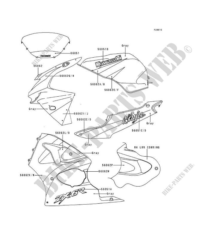 DECALS(GRAY/GRAY) pour Kawasaki NINJA ZX-6R 1998