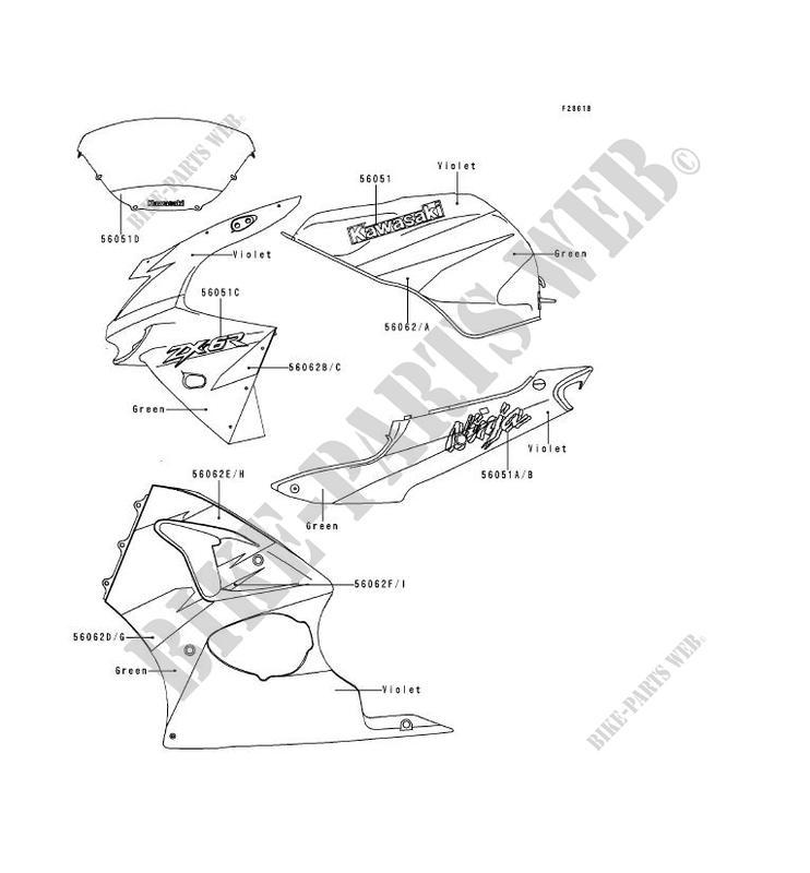STICKER(GREEN/VIOLET) pour Kawasaki NINJA ZX-6R 1998
