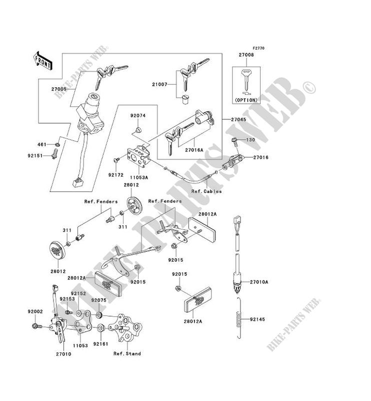 CONTACTEUR SERRURE/RÉFLECTEUR pour Kawasaki NINJA ZX-6RR