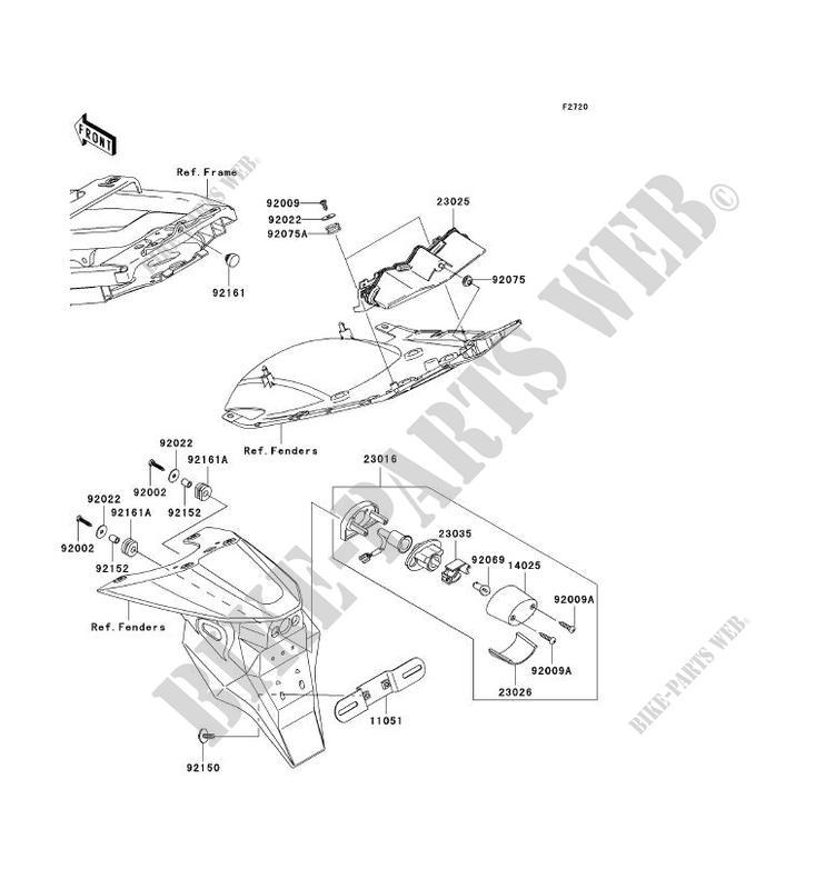 FEUX ARRIERE S ZX600 K1H NINJA ZX 6RR 2003 600 MOTOS