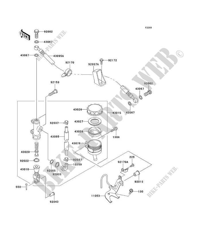 MAITRE CYLINDRE ARRIÈRE pour Kawasaki NINJA ZX-6RR 2003