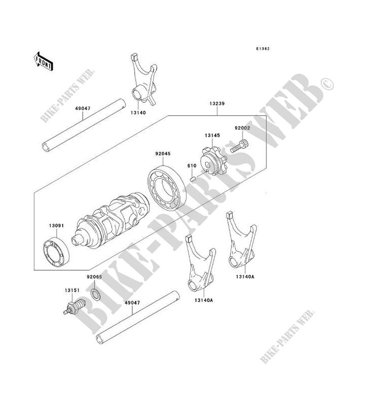 FOURCHETTE/BARRILLET DE SELECTION pour Kawasaki NINJA ZX