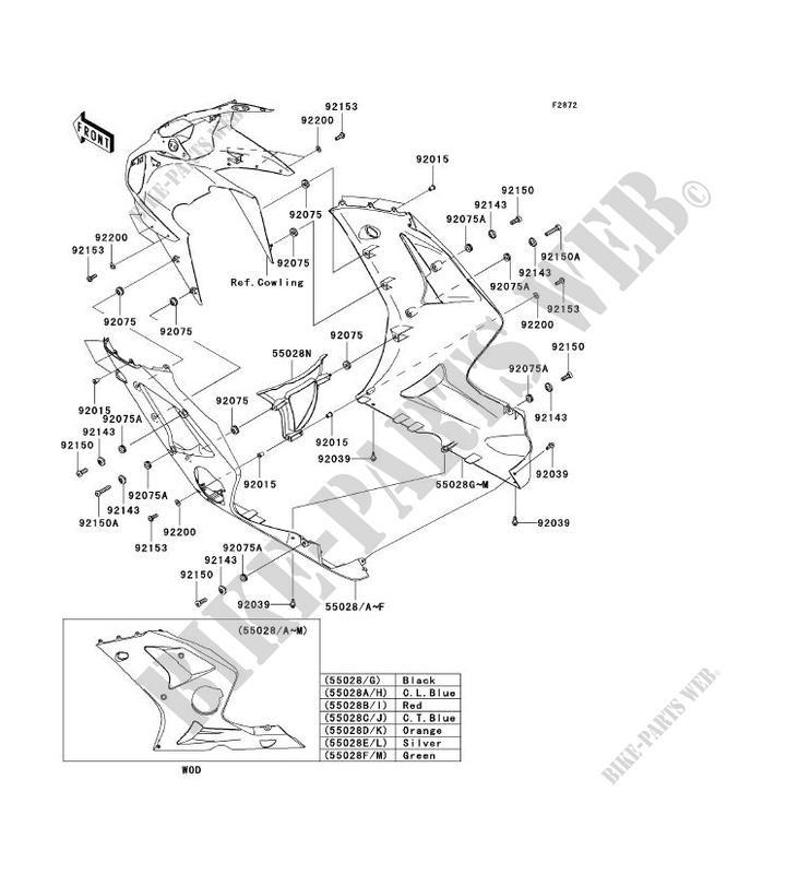 CARENAGE INFERIEUR pour Kawasaki NINJA ZX-6R 2003