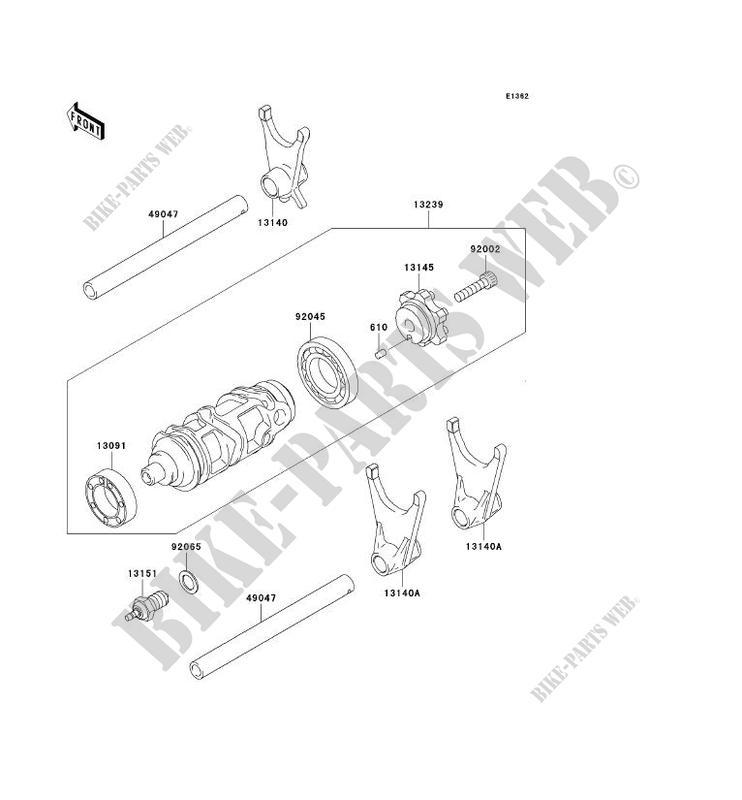 FOURCHETTE/BARRILLET DE SELECTION pour Kawasaki NINJA ZX