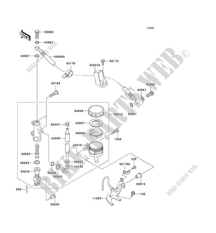 MAITRE CYLINDRE ARRIÈRE pour Kawasaki NINJA ZX-6R 2003