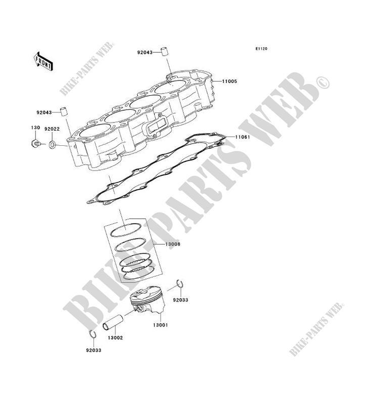 CYLINDRE PISTON ZX636 C1 NINJA ZX 6R 2005 636 MOTOS