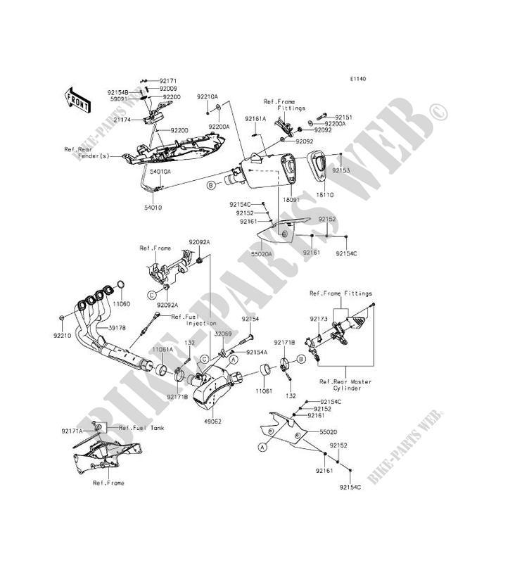 ECHAPPEMENT ZX636EFF NINJA ZX 6R 2015 636 MOTOS Kawasaki