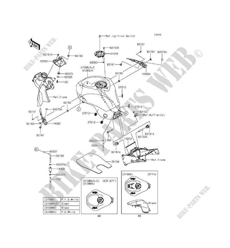 RESERVOIR CARBURANT ZX636EFF NINJA ZX 6R 2015 636 MOTOS