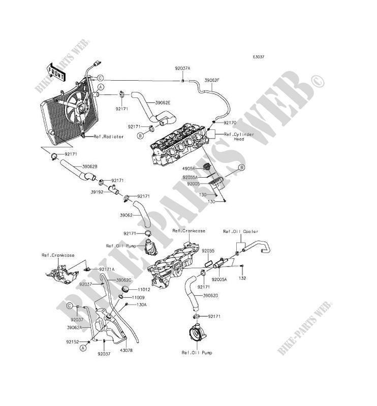 TUYAU Dx 39EAU ZX636EFF NINJA ZX 6R 2015 636 MOTOS