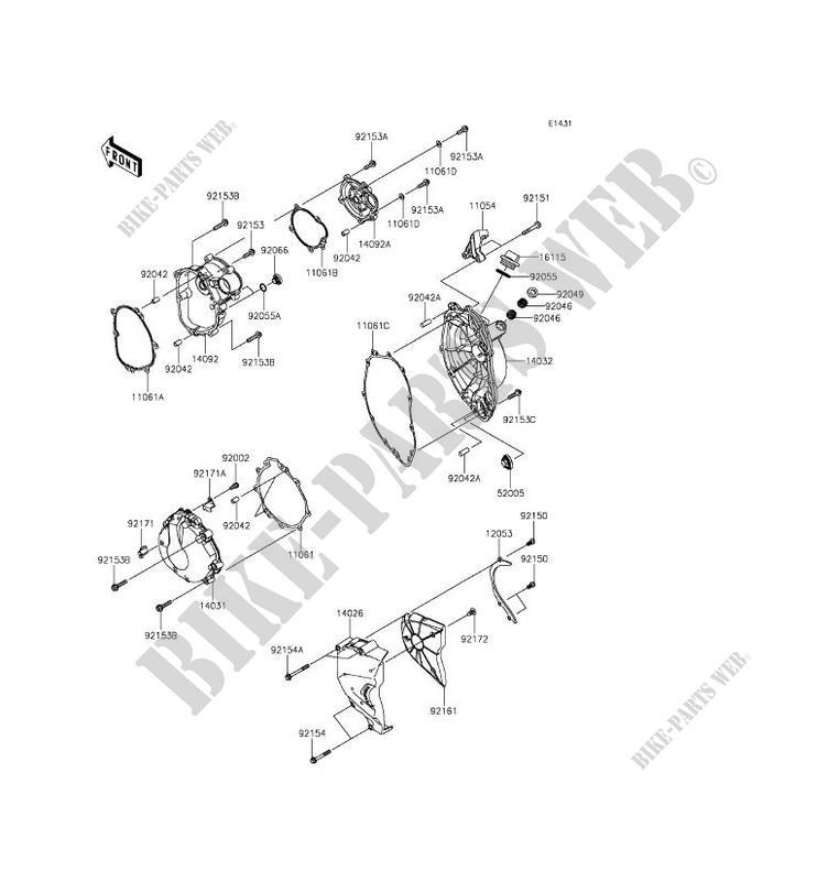 COUVERCLES MOTEUR ZX636FDF NINJA ZX 6R ABS 2013 636 MOTOS