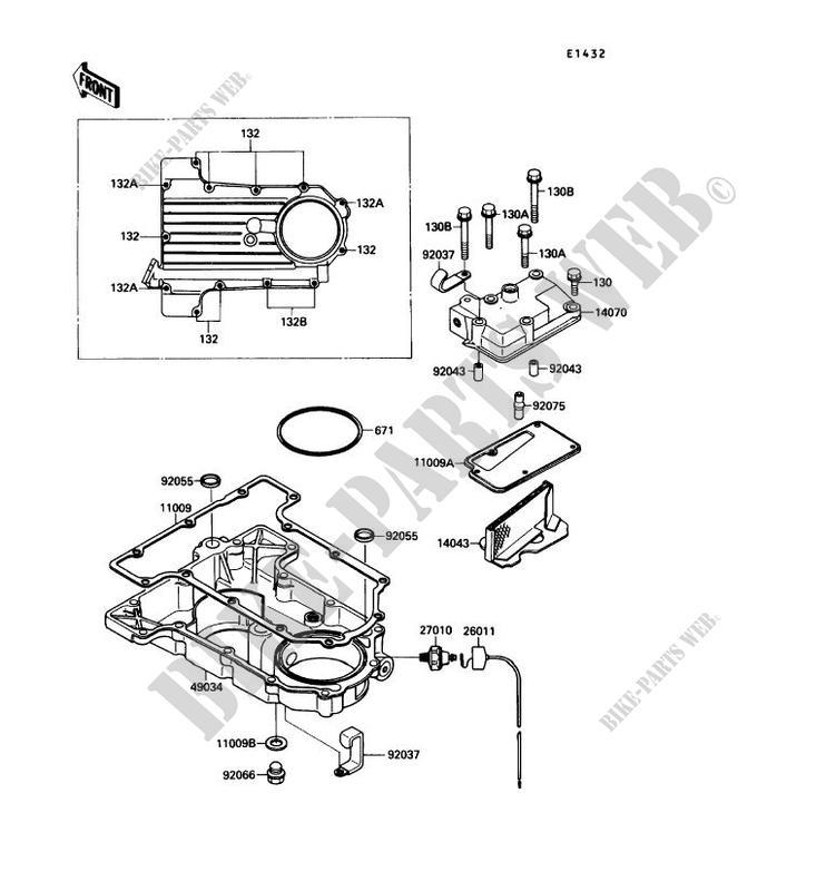 COUVERCLE RENIFLARD/CARTER D'HUILE pour Kawasaki GPX750R