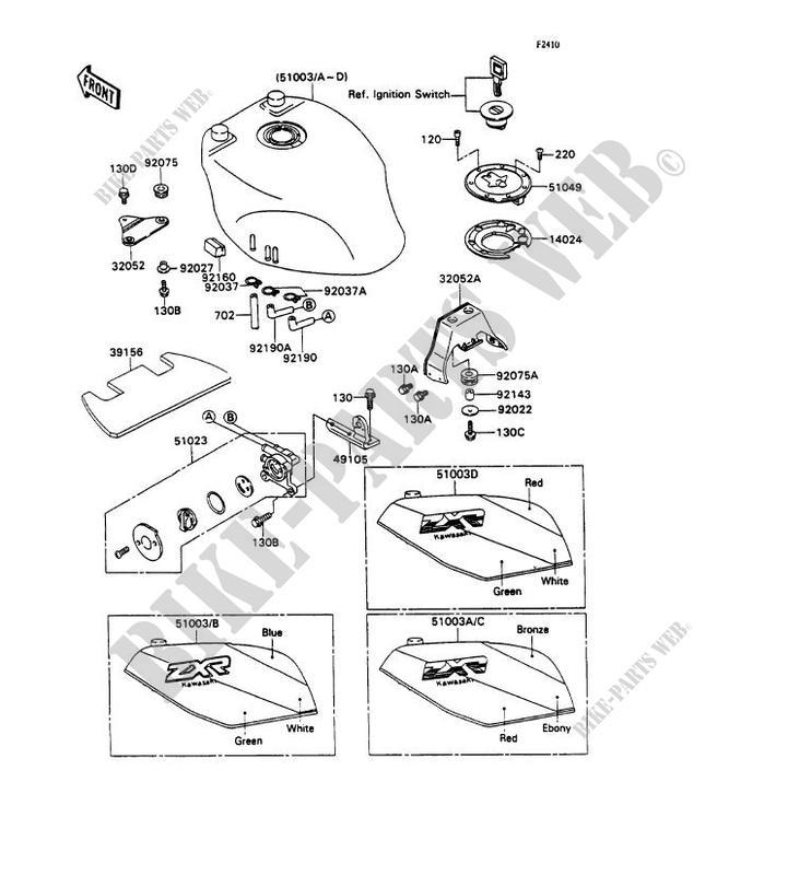 RESERVOIR CARBURANT pour Kawasaki ZXR750 1989 # KAWASAKI