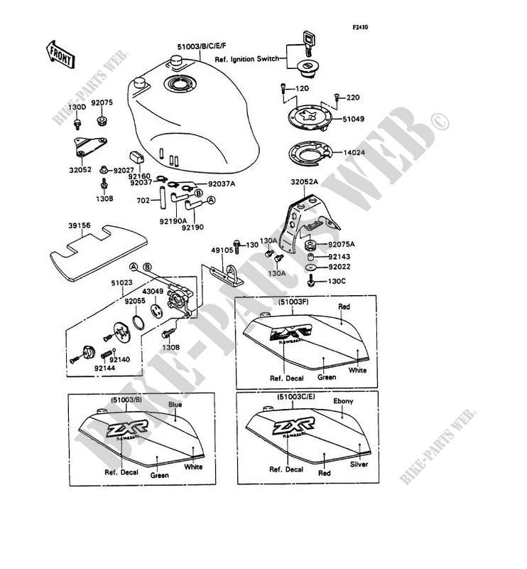 RESERVOIR CARBURANT ZX750 H2 ZXR750 1990 750 MOTOS