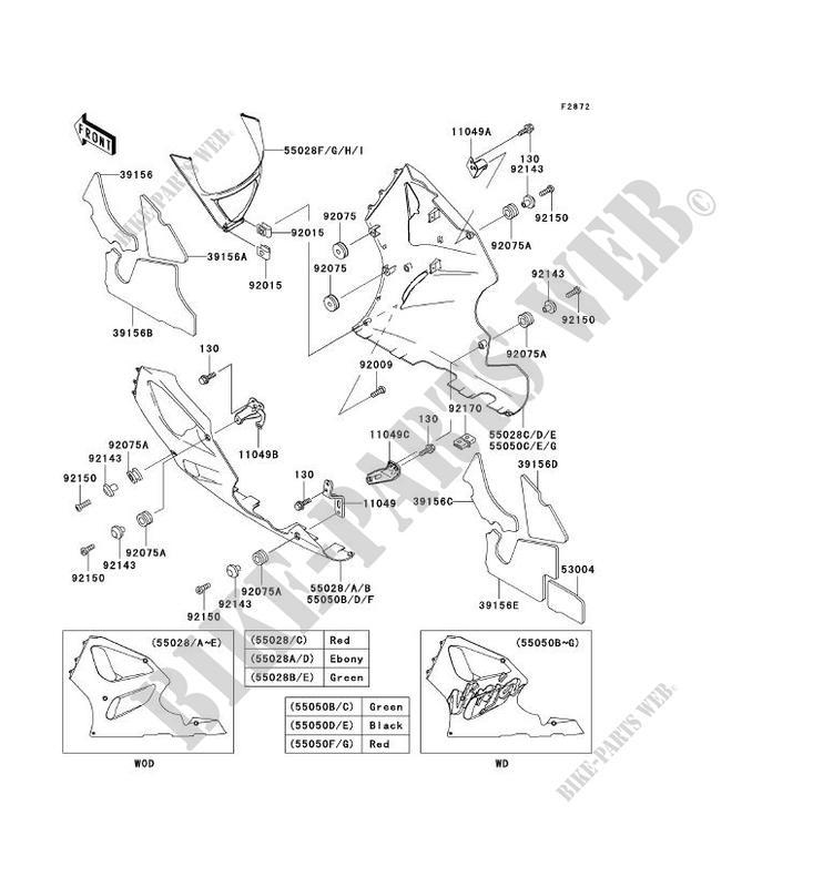 CARENAGE INFERIEUR ZX750 P2 NINJA ZX 7R 1997 750 MOTOS