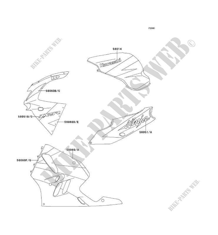 STICKER(EBONY/GRIS/ROUGE) pour Kawasaki NINJA ZX-9R 1994