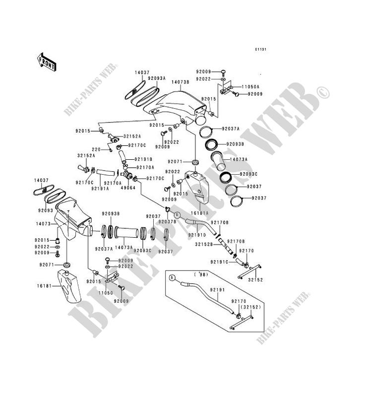 MANCHON ZX900 C1 NINJA ZX 9R 1998 900 MOTOS Kawasaki moto