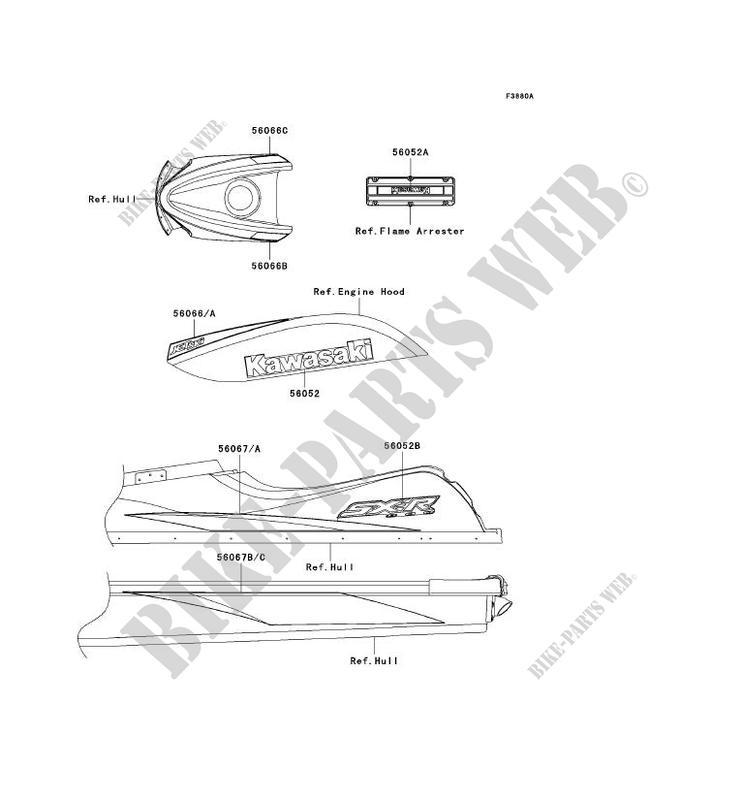 STICKER(YELLOW)(US) pour Kawasaki JET SKI 800 SX-R 2006