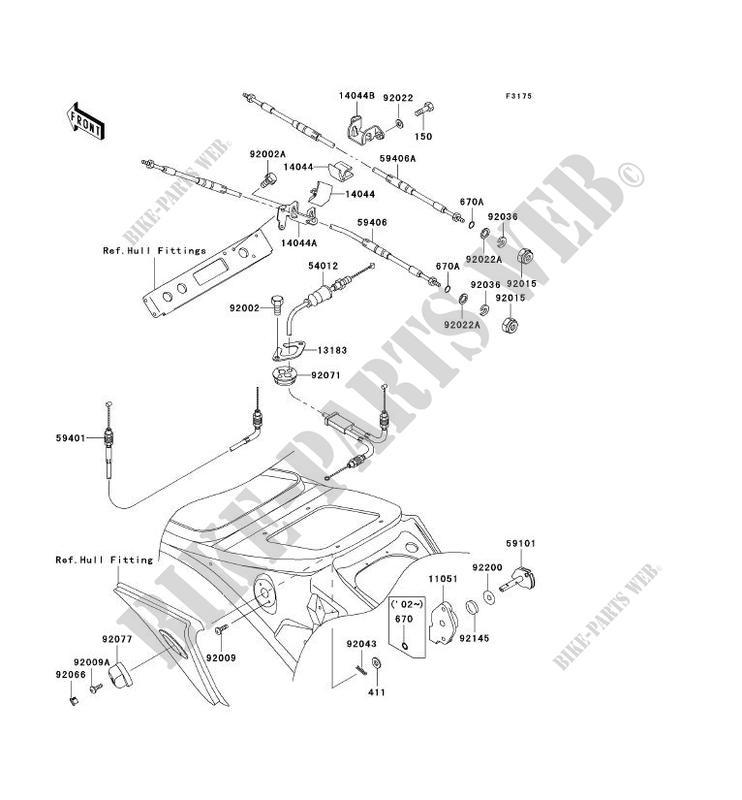 CABLES pour Kawasaki JET SKI 1100 STX 2000 # KAWASAKI