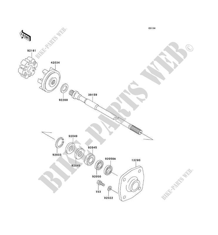 ARBRE DE TRANSMISSION pour Kawasaki JET SKI 1200 STX-R