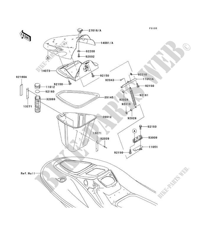 PIECE COQUE AV JT1200 A1 JET SKI 1200 STX R 2002 1200 JET