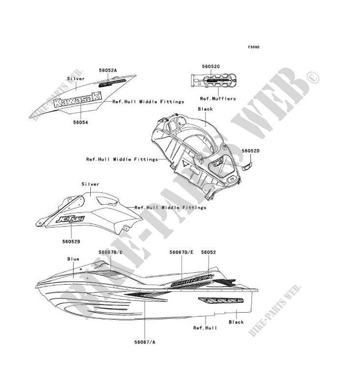 STICKER(BLEU) pour Kawasaki JET SKI ULTRA 250X 2007