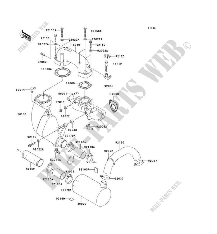 ECHAPPEMENT JT900 B2 JET SKI 900 STX 2000 900 JET SKI