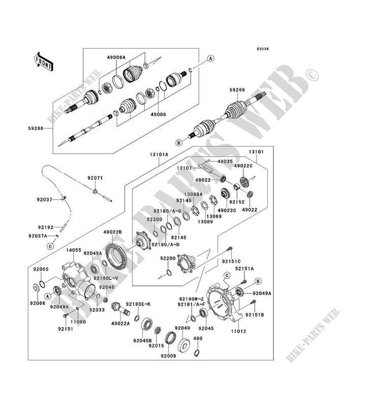 ARBRE DE TRANSMISSION AVANT pour Kawasaki MULE 610 4X4