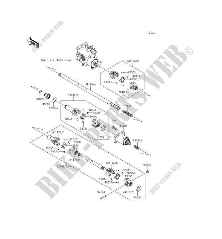 ARBRE DE TRANSMISSION(HÉLICE) pour Kawasaki MULE 610 4X4