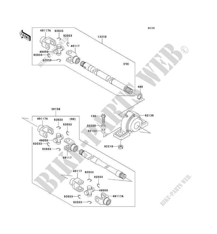 ARBRE DE TRANSMISSION(HÉLICE) pour Kawasaki MULE 3010 4X4