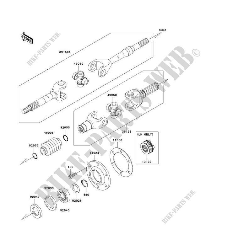 ARBRE DE TRANSMISSION(ARRIÈRE) pour Kawasaki MULE 4010