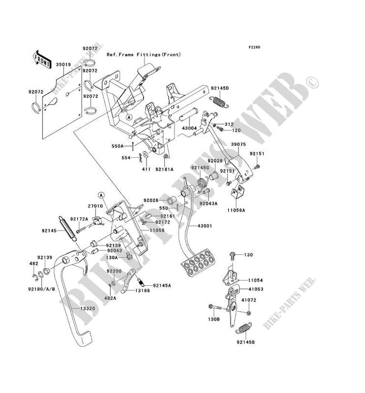 PEDALE DE FREIN LEVIER ACCELERATEUR KRF750SDF TERYX 750 FI
