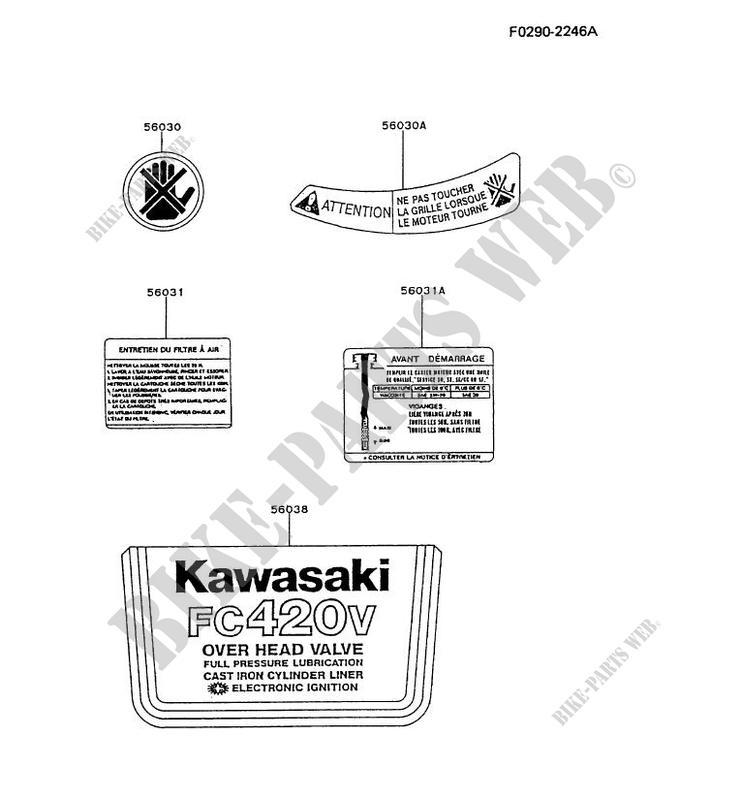 LABEL pour Kawasaki FC MOTORS FC420V # KAWASAKI