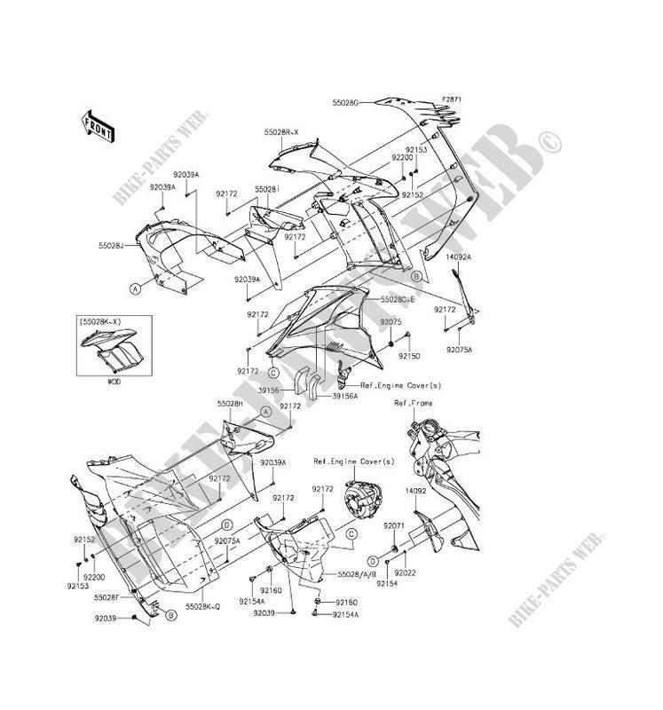 CARENAGE(CENTRALE) pour Kawasaki Z1000SX ABS 2016