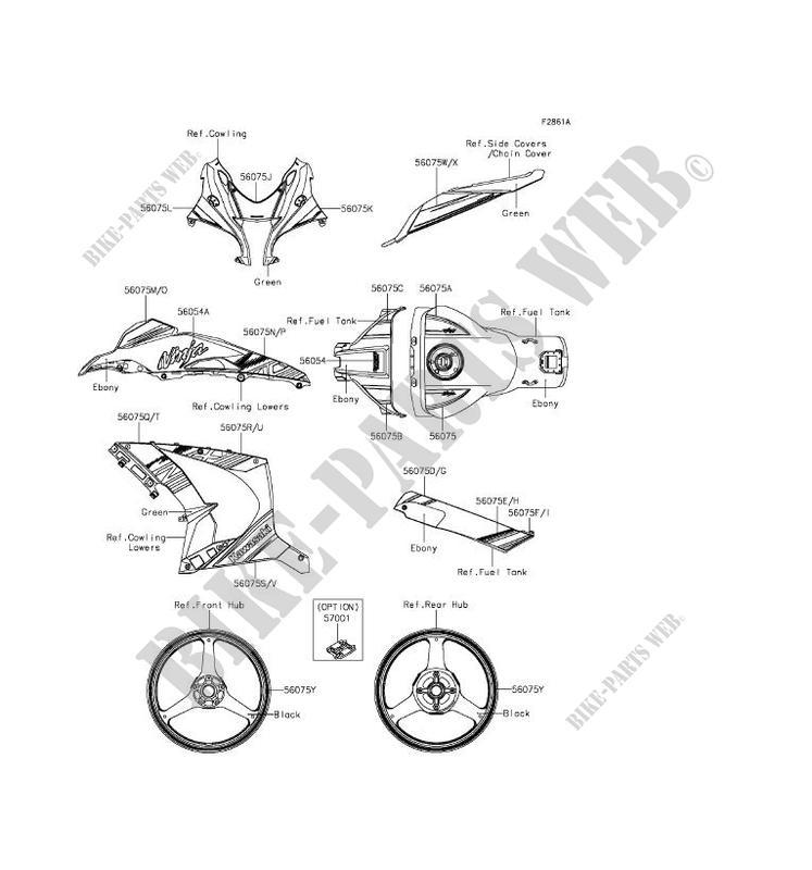 STICKER(GREEN) pour Kawasaki NINJA ZX-10R ABS 2016