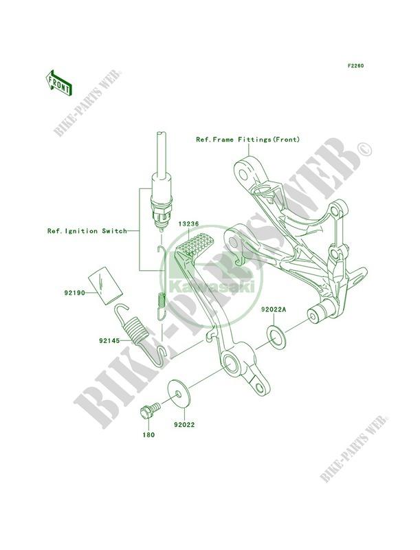 Brake Pedal pour Kawasaki Ninja ZX-6R 2007 # KAWASAKI