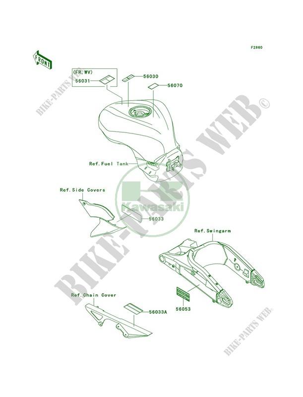 Labels pour Kawasaki Ninja ZX-6R 2007 # KAWASAKI