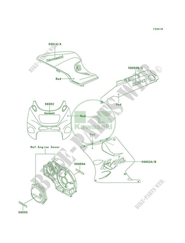 DecalsRedZX1100 D9 pour Kawasaki Ninja ZX-11 2001