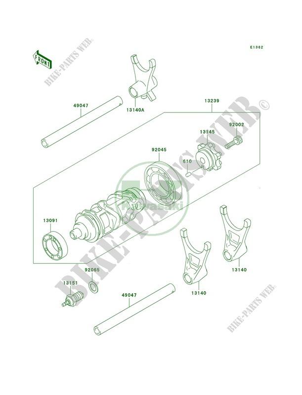 Gear Change DrumShift Forks pour Kawasaki Ninja ZX-9R 1998
