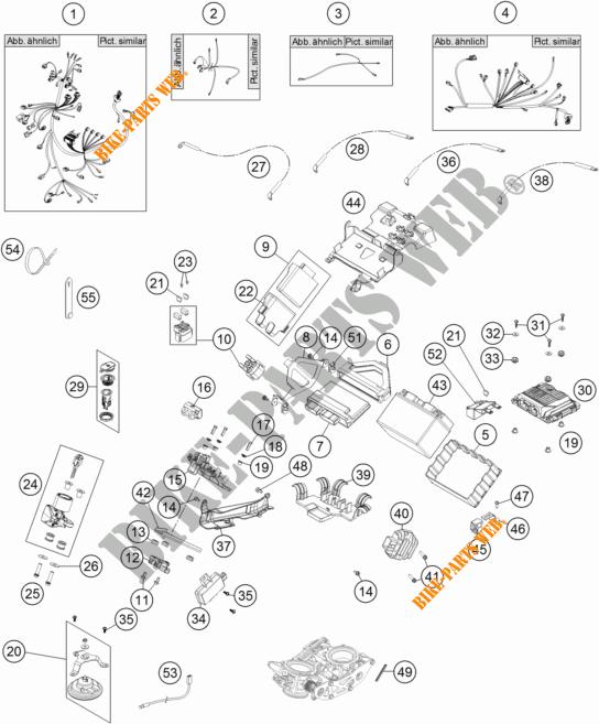 FAISCEAU ELECTRIQUE pour KTM 1190 ADVENTURE ABS ORANGE de