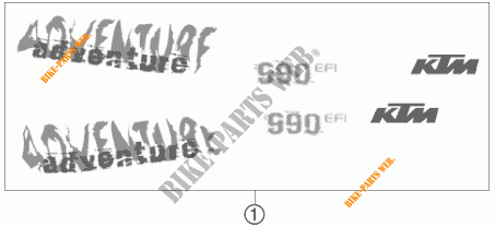 AUTOCOLLANTS pour KTM 990 ADVENTURE ORANGE ABS de 2007